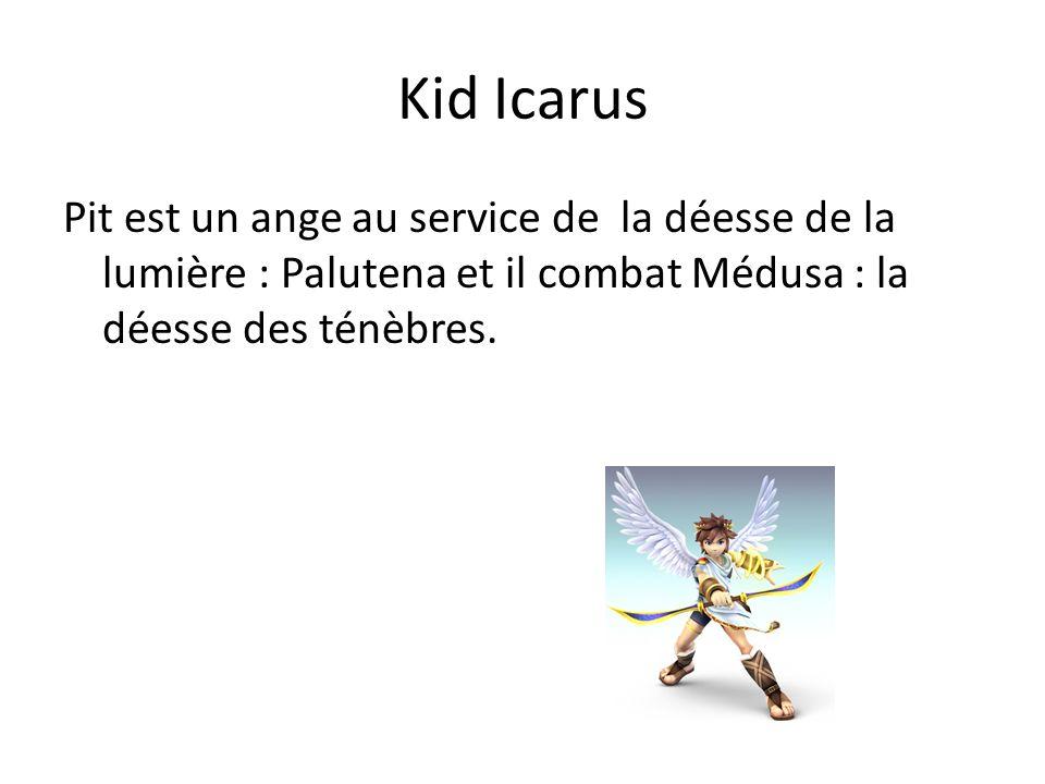 Kid Icarus Pit est un ange au service de la déesse de la lumière : Palutena et il combat Médusa : la déesse des ténèbres.