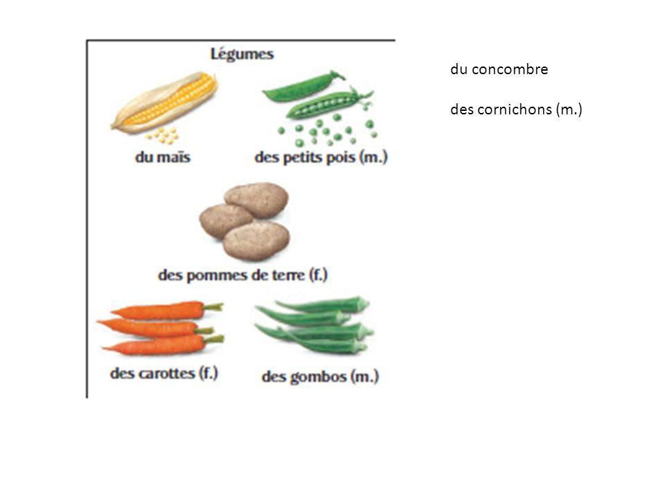 du concombre des cornichons (m.)
