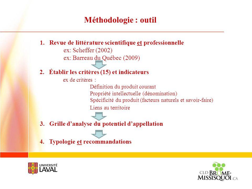 Méthodologie : outil 1.Revue de littérature scientifique et professionnelle ex: Scheffer (2002) ex: Barreau du Québec (2009) 2.Établir les critères (1