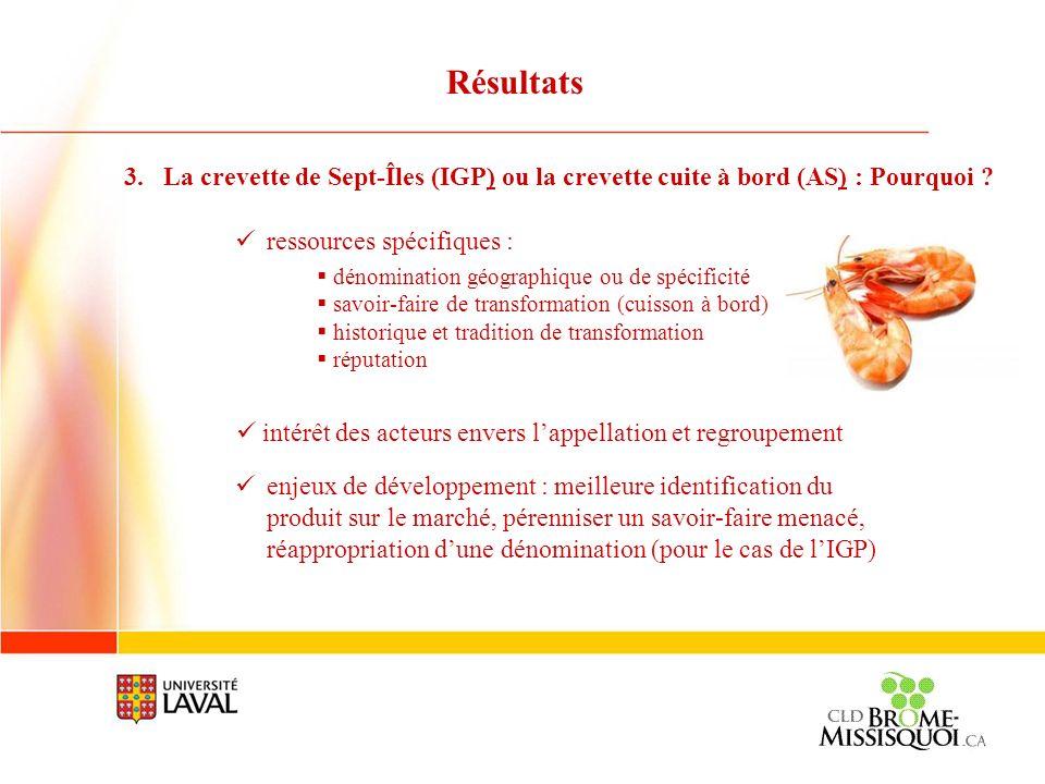 3.La crevette de Sept-Îles (IGP) ou la crevette cuite à bord (AS) : Pourquoi ? ressources spécifiques : dénomination géographique ou de spécificité sa