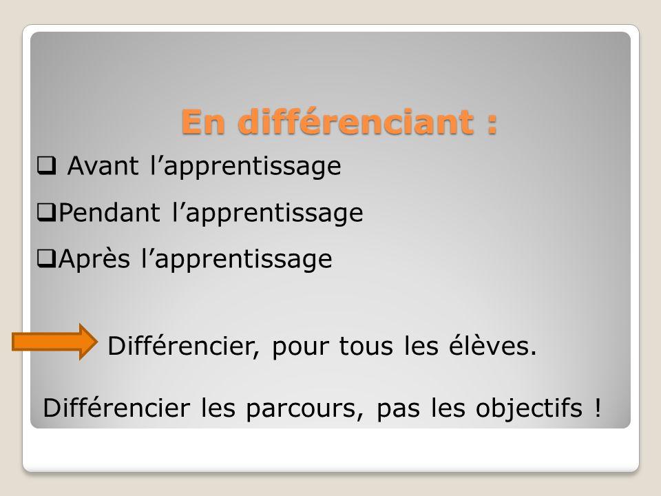 En différenciant : Avant lapprentissage Pendant lapprentissage Après lapprentissage Différencier, pour tous les élèves.