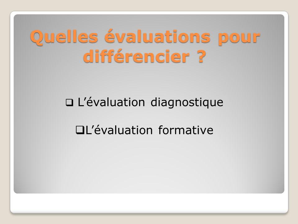 Quelles évaluations pour différencier ? Lévaluation diagnostique Lévaluation formative