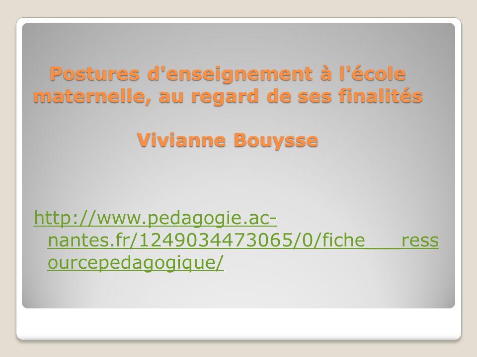 Postures d enseignement à l école maternelle, au regard de ses finalités Vivianne Bouysse http://www.pedagogie.ac- nantes.fr/1249034473065/0/fiche___ress ourcepedagogique/