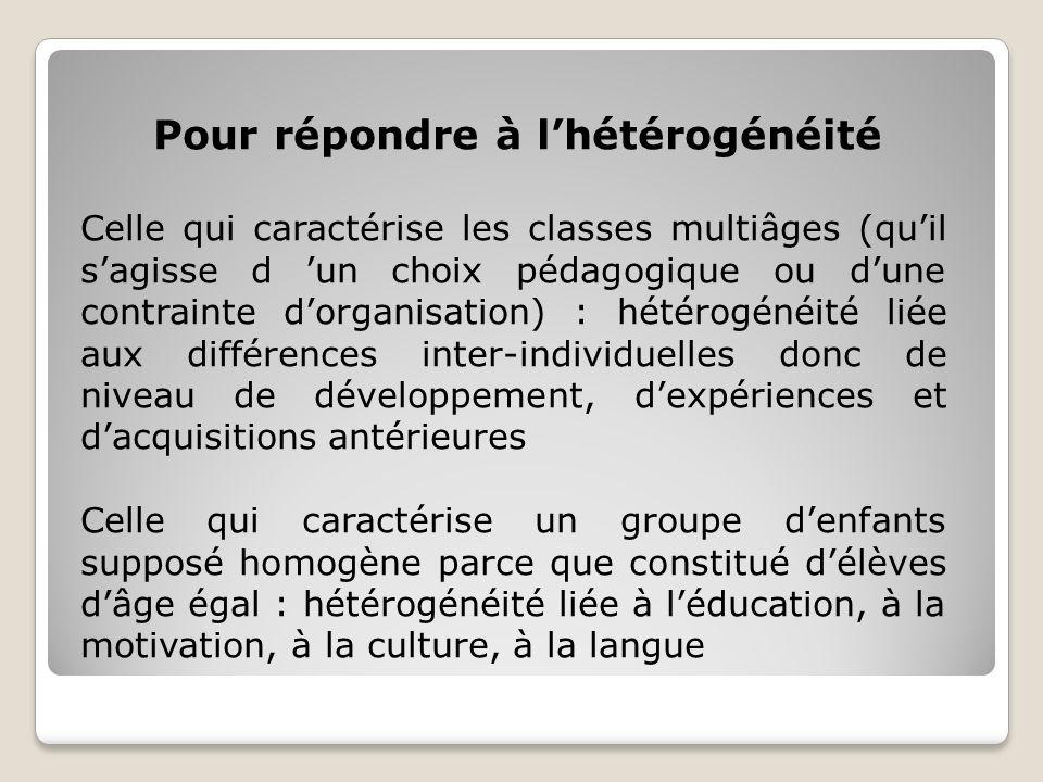Pour répondre à lhétérogénéité Celle qui caractérise les classes multiâges (quil sagisse d un choix pédagogique ou dune contrainte dorganisation) : hétérogénéité liée aux différences inter-individuelles donc de niveau de développement, dexpériences et dacquisitions antérieures Celle qui caractérise un groupe denfants supposé homogène parce que constitué délèves dâge égal : hétérogénéité liée à léducation, à la motivation, à la culture, à la langue