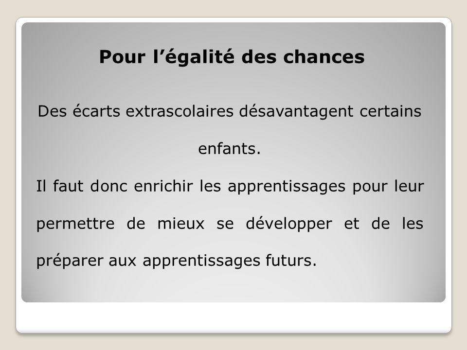 Pour légalité des chances Des écarts extrascolaires désavantagent certains enfants.