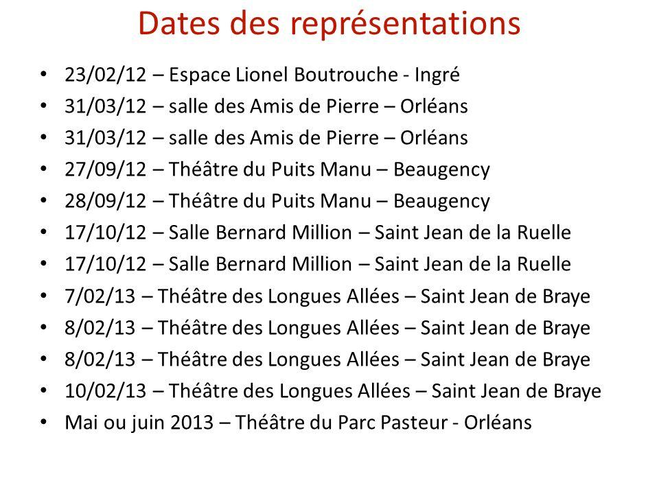 Dates des représentations 23/02/12 – Espace Lionel Boutrouche - Ingré 31/03/12 – salle des Amis de Pierre – Orléans 27/09/12 – Théâtre du Puits Manu – Beaugency 28/09/12 – Théâtre du Puits Manu – Beaugency 17/10/12 – Salle Bernard Million – Saint Jean de la Ruelle 7/02/13 – Théâtre des Longues Allées – Saint Jean de Braye 8/02/13 – Théâtre des Longues Allées – Saint Jean de Braye 10/02/13 – Théâtre des Longues Allées – Saint Jean de Braye Mai ou juin 2013 – Théâtre du Parc Pasteur - Orléans