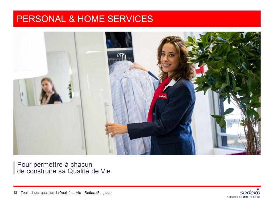 PERSONAL & HOME SERVICES 13 –Tout est une question de Qualité de Vie – Sodexo Belgique Pour permettre à chacun de construire sa Qualité de Vie