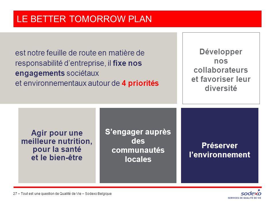 LE BETTER TOMORROW PLAN 27 – est notre feuille de route en matière de responsabilité dentreprise, il fixe nos engagements sociétaux et environnementau