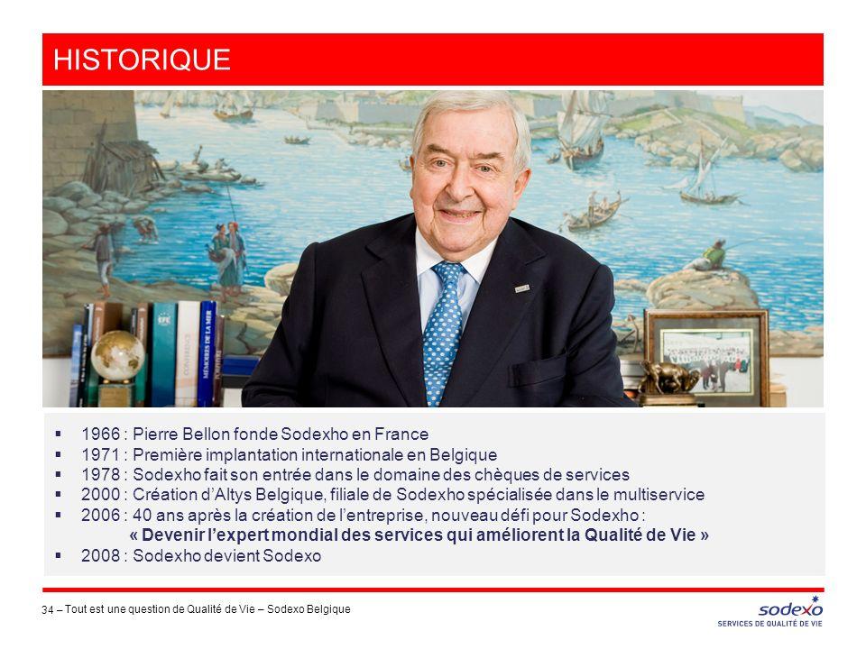 34 – 1966 : Pierre Bellon fonde Sodexho en France 1971 : Première implantation internationale en Belgique 1978 : Sodexho fait son entrée dans le domai