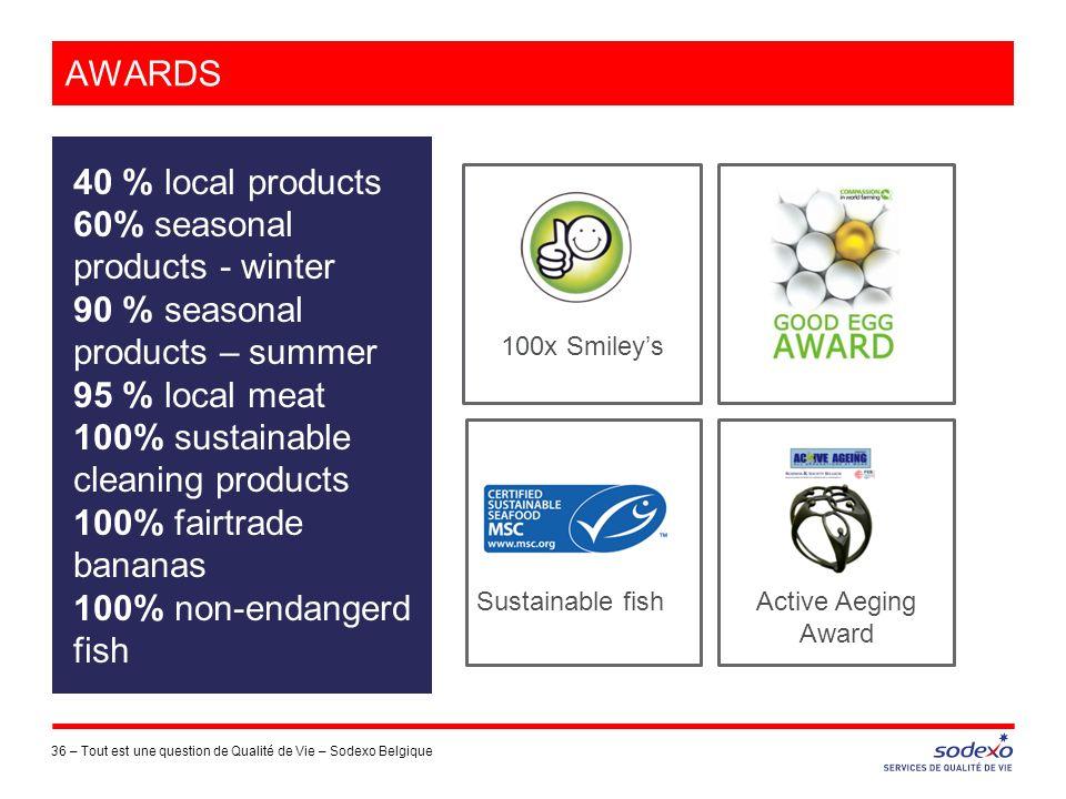 AWARDS 36 –Tout est une question de Qualité de Vie – Sodexo Belgique 40 % local products 60% seasonal products - winter 90 % seasonal products – summe