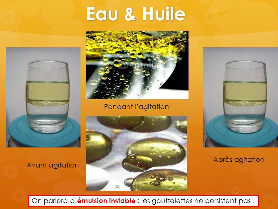 Eau & Huile Avant agitation Pendant lagitation Après agitation On parlera d émulsion instable : les gouttelettes ne persistent pas.