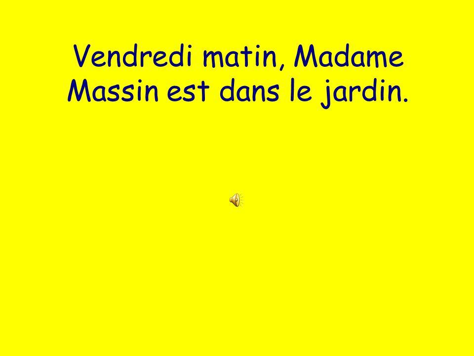 Vendredi matin, Madame Massin est dans le jardin.