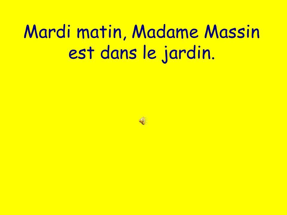 Mardi matin, Madame Massin est dans le jardin.
