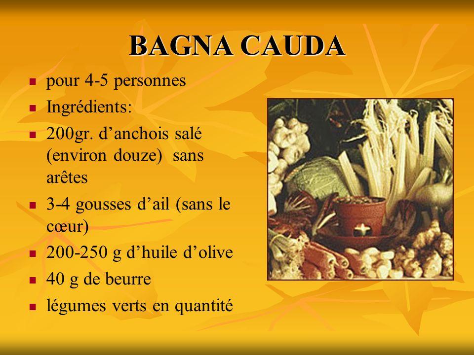 BAGNA CAUDA pour 4-5 personnes Ingrédients: 200gr. danchois salé (environ douze) sans arêtes 3-4 gousses dail (sans le cœur) 200-250 g dhuile dolive 4