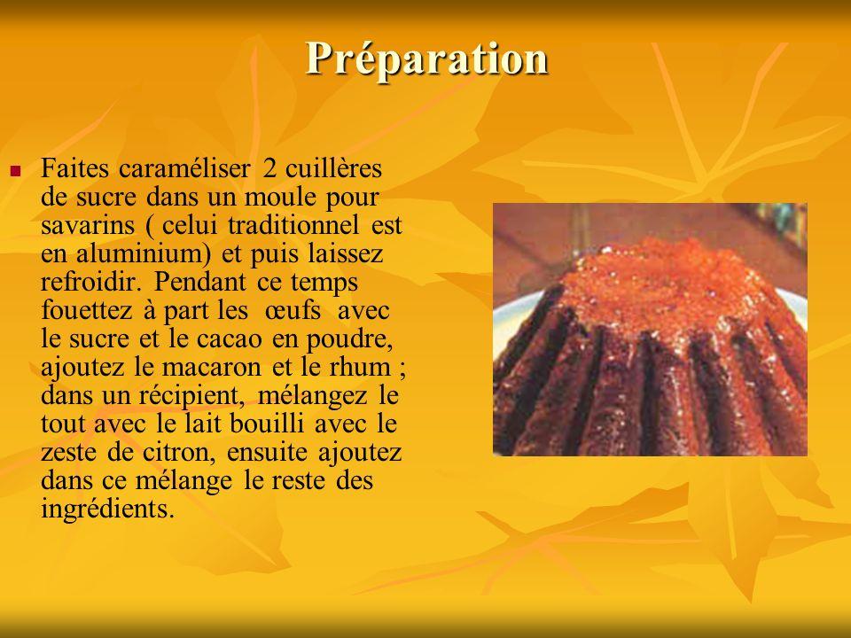 Préparation Faites caraméliser 2 cuillères de sucre dans un moule pour savarins ( celui traditionnel est en aluminium) et puis laissez refroidir. Pend