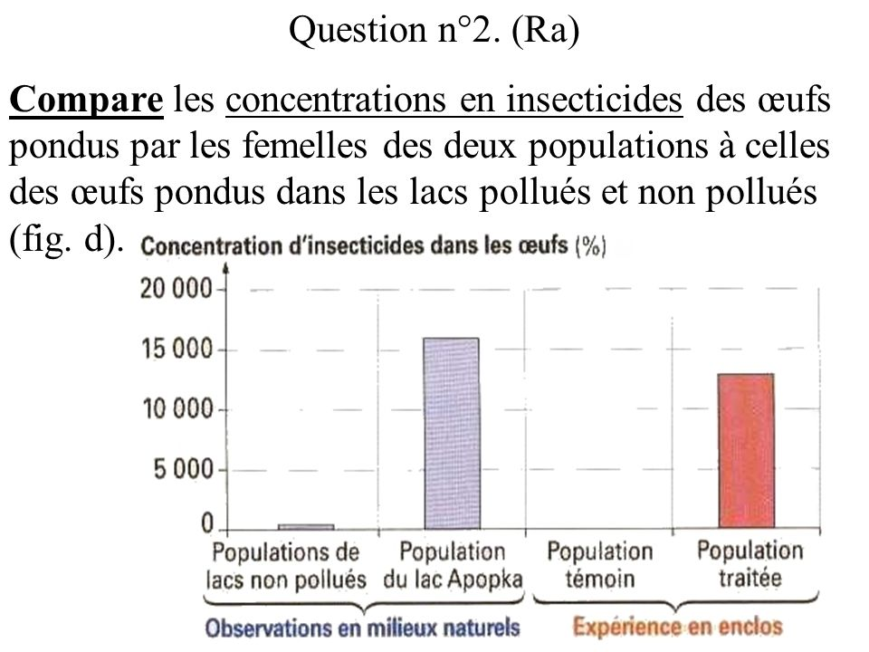 Question n°2. (Ra) Compare les concentrations en insecticides des œufs pondus par les femelles des deux populations à celles des œufs pondus dans les
