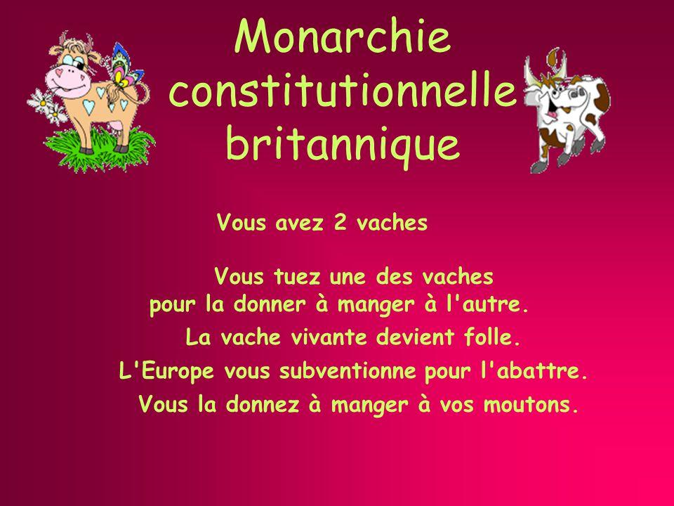 Monarchie constitutionnelle britannique Vous avez 2 vaches Vous la donnez à manger à vos moutons.