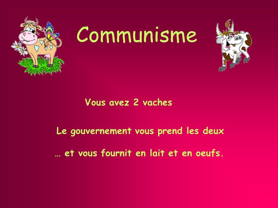 Communisme Le gouvernement vous prend les deux … et vous fournit en lait et en oeufs.