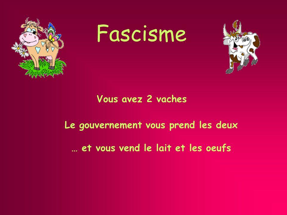 Fascisme Le gouvernement vous prend les deux … et vous vend le lait et les oeufs Vous avez 2 vaches