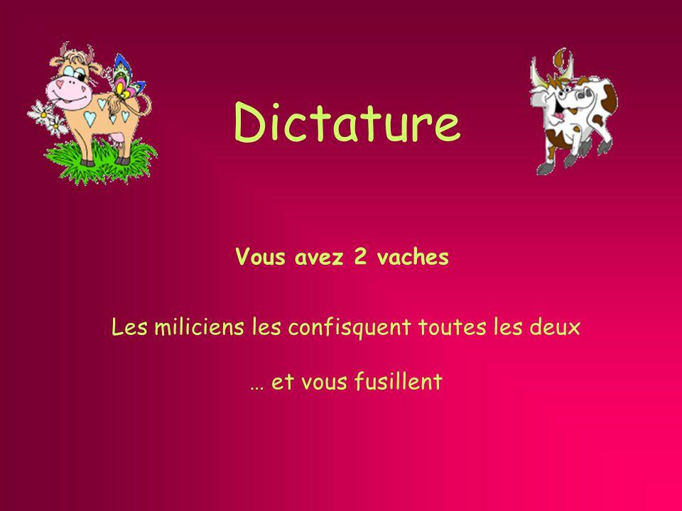 Dictature Vous avez 2 vaches Les miliciens les confisquent toutes les deux … et vous fusillent