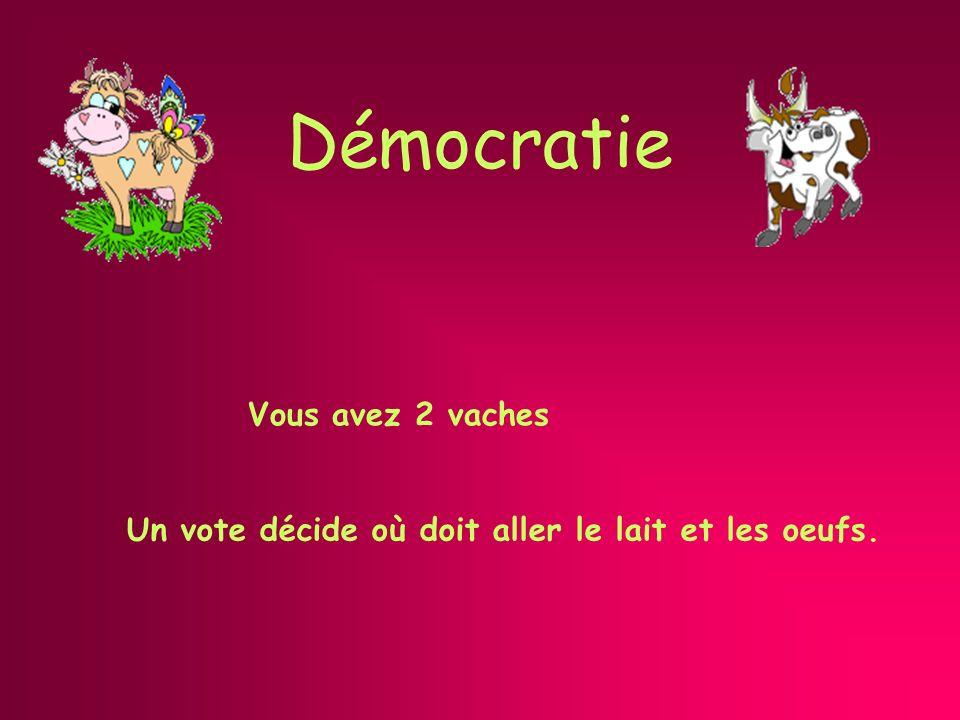Démocratie représentative Vous avez 2 vaches Une élection désigne celui qui décide où doit aller le lait et les oeufs.