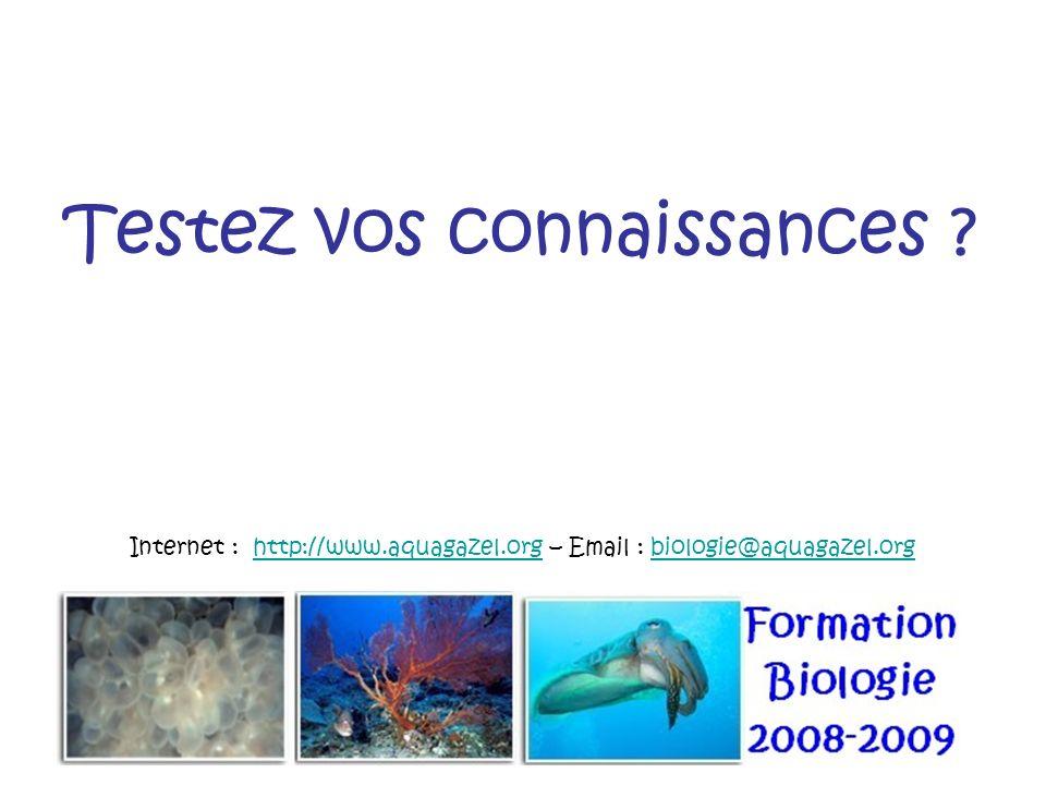 Testez vos connaissances ? Internet : http://www.aquagazel.org – Email : biologie@aquagazel.orghttp://www.aquagazel.orgbiologie@aquagazel.org