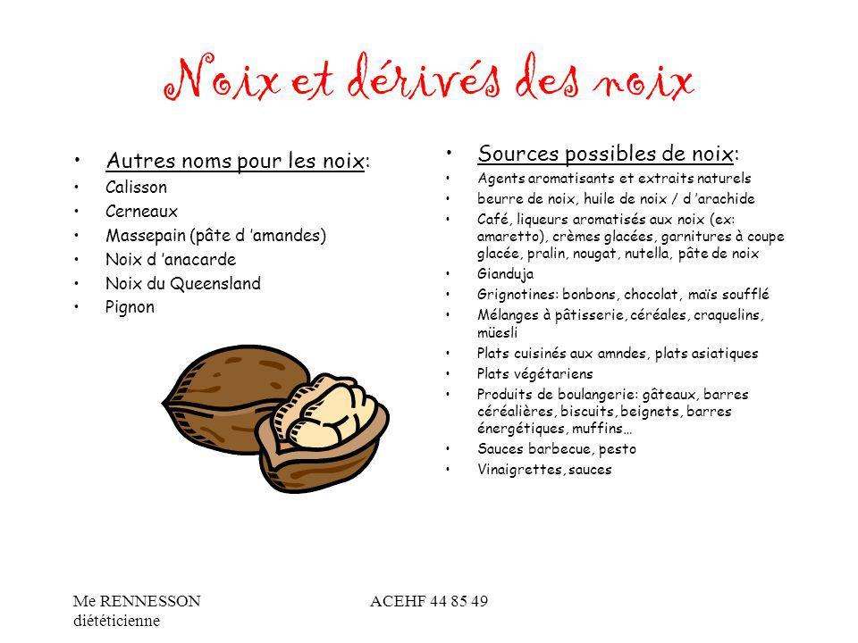 Noix et dérivés des noix Autres noms pour les noix: Calisson Cerneaux Massepain (pâte d amandes) Noix d anacarde Noix du Queensland Pignon Sources pos