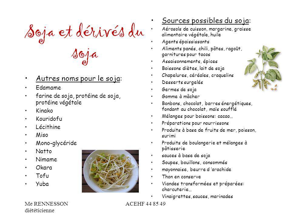 Soja et dérivés du soja Autres noms pour le soja: Edamame farine de soja, protéine de soja, protéine végétale Kinako Kouridofu Lécithine Miso Mono-gly