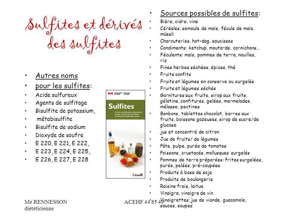 Sulfites et dérivés des sulfites Autres noms pour les sulfites: Acide sulfureux Agents de sulfitage Bisulfite de potassium, métabisulfite Bisulfite de