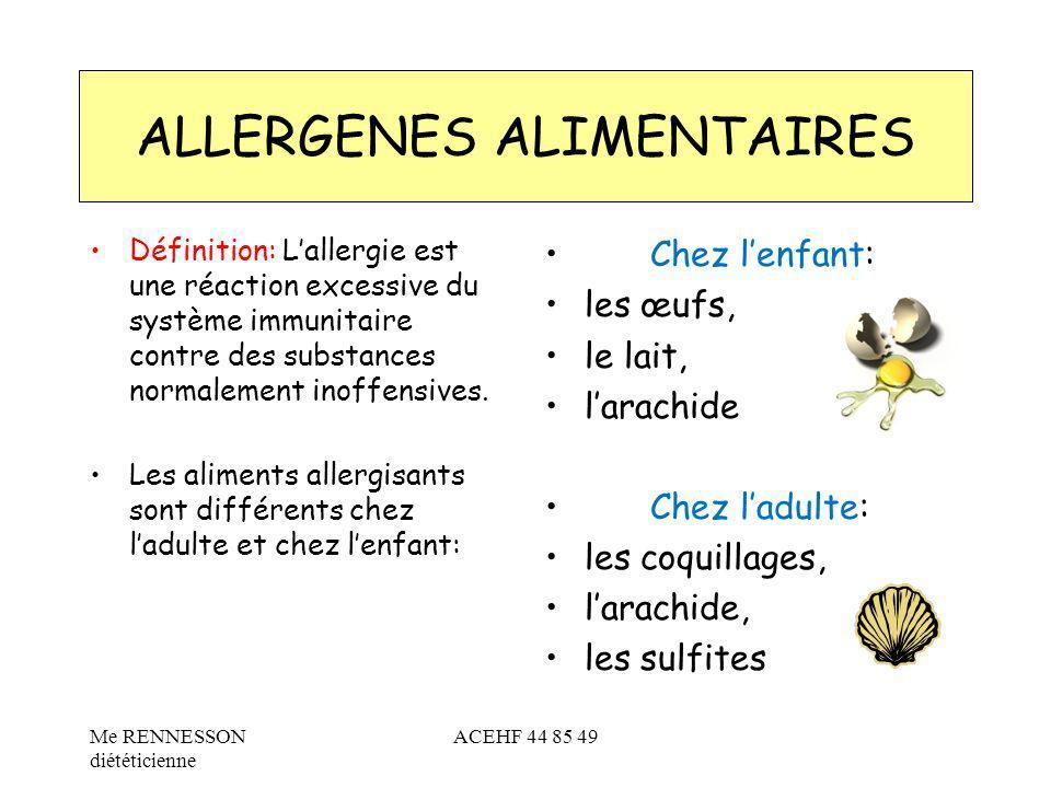 Définition: Lallergie est une réaction excessive du système immunitaire contre des substances normalement inoffensives. Les aliments allergisants sont