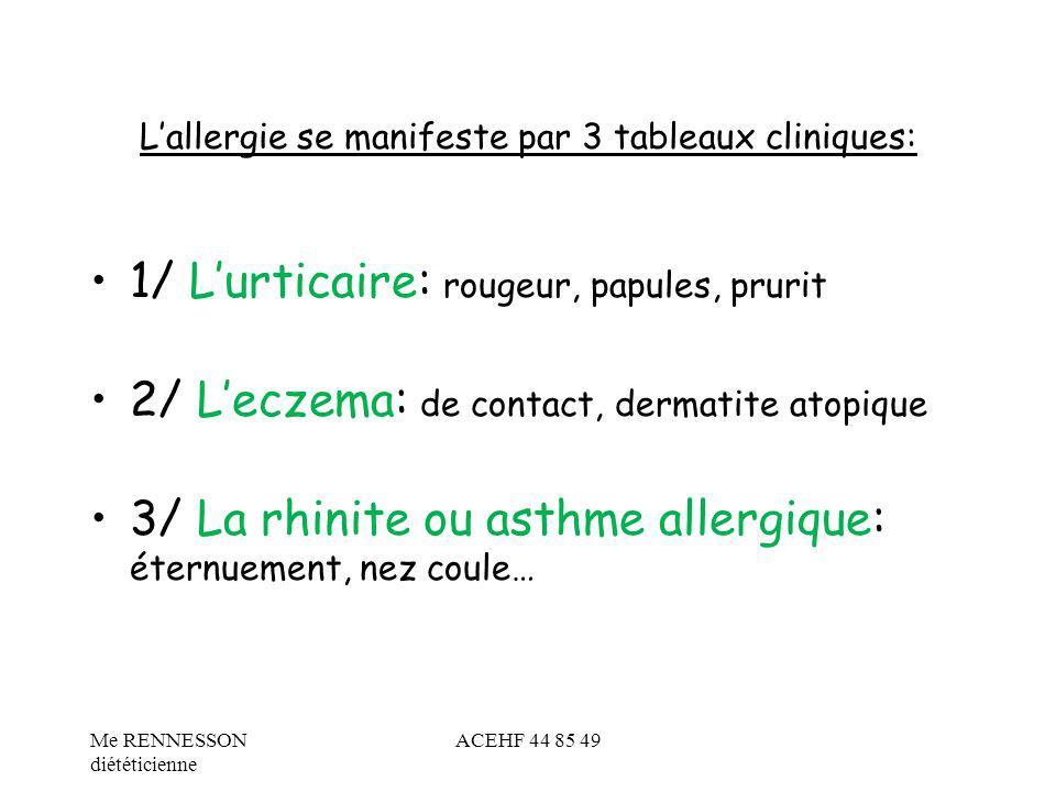 Lallergie se manifeste par 3 tableaux cliniques: 1/ Lurticaire: rougeur, papules, prurit 2/ Leczema: de contact, dermatite atopique 3/ La rhinite ou a