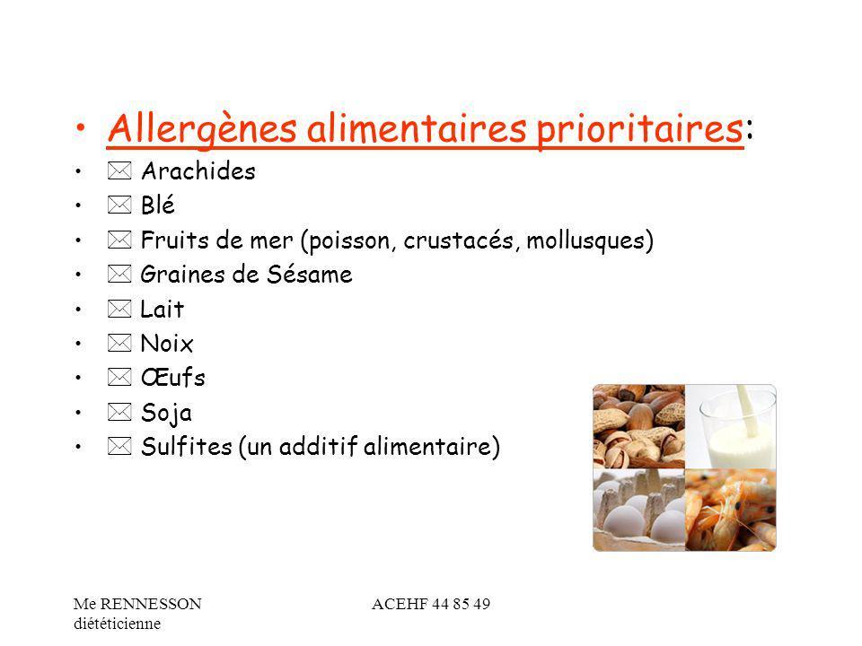 Allergènes alimentaires prioritaires: Arachides Blé Fruits de mer (poisson, crustacés, mollusques) Graines de Sésame Lait Noix Œufs Soja Sulfites (un