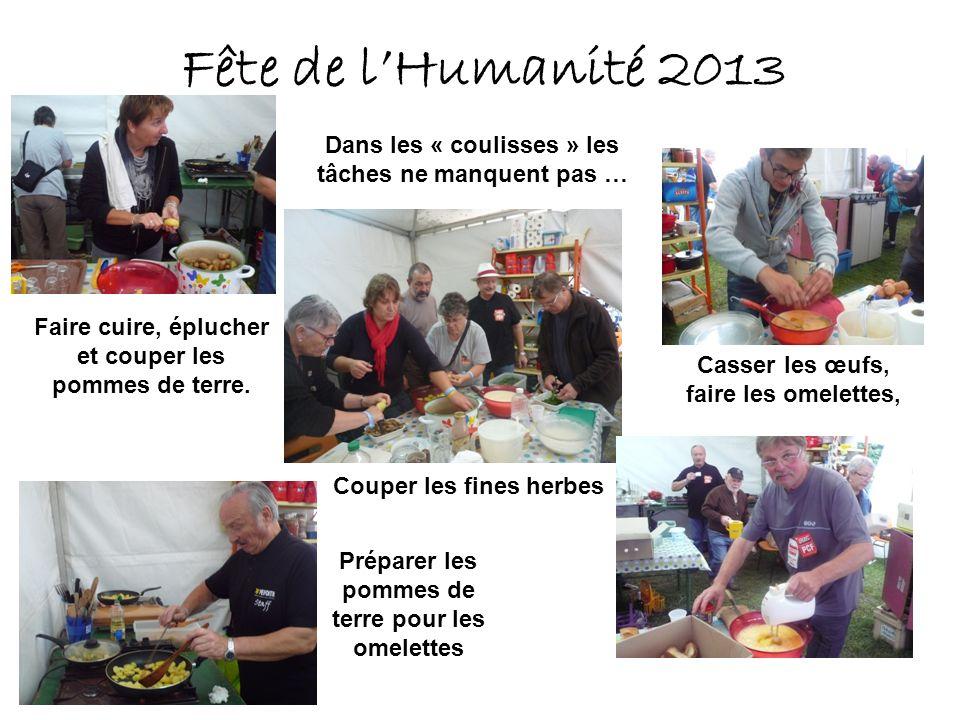 Fête de lHumanité 2013 Dans les « coulisses » les tâches ne manquent pas … Faire cuire, éplucher et couper les pommes de terre.