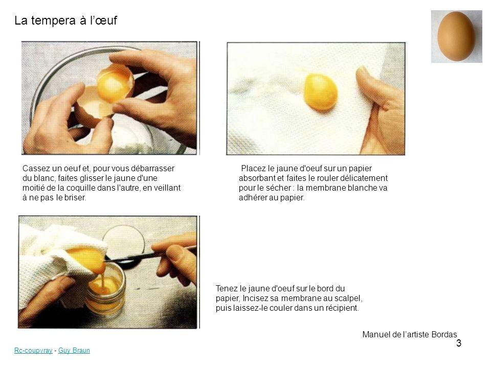 La tempera à lœuf Rc-coupvrayRc-coupvray - Guy BraunGuy Braun 3 Cassez un oeuf et, pour vous débarrasser du blanc, faites glisser le jaune d une moitié de la coquille dans l autre, en veillant à ne pas le briser.