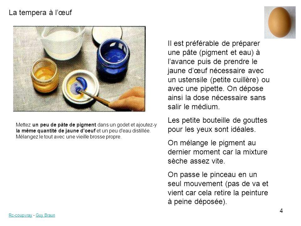 La tempera à lœuf Rc-coupvrayRc-coupvray - Guy BraunGuy Braun 4 Mettez un peu de pâte de pigment dans un godet et ajoutez-y la même quantité de jaune d oeuf et un peu d eau distillée.