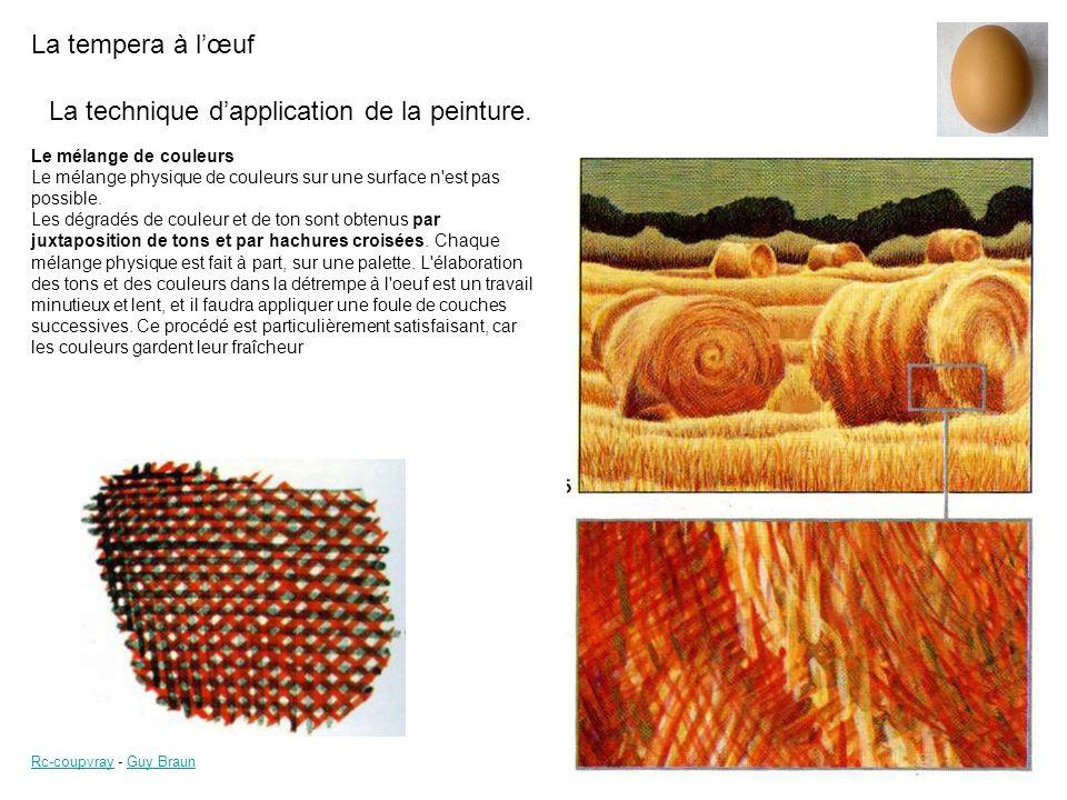 La tempera à lœuf Rc-coupvrayRc-coupvray - Guy BraunGuy Braun 6 Dessin au crayon repris au pinceau Passage dun ton uni, la transparence laisse le dessin intact.