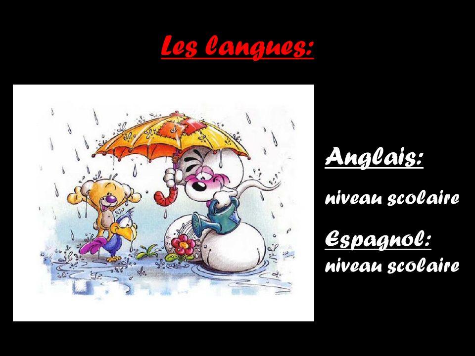 Les langues: Anglais: niveau scolaire Espagnol: niveau scolaire