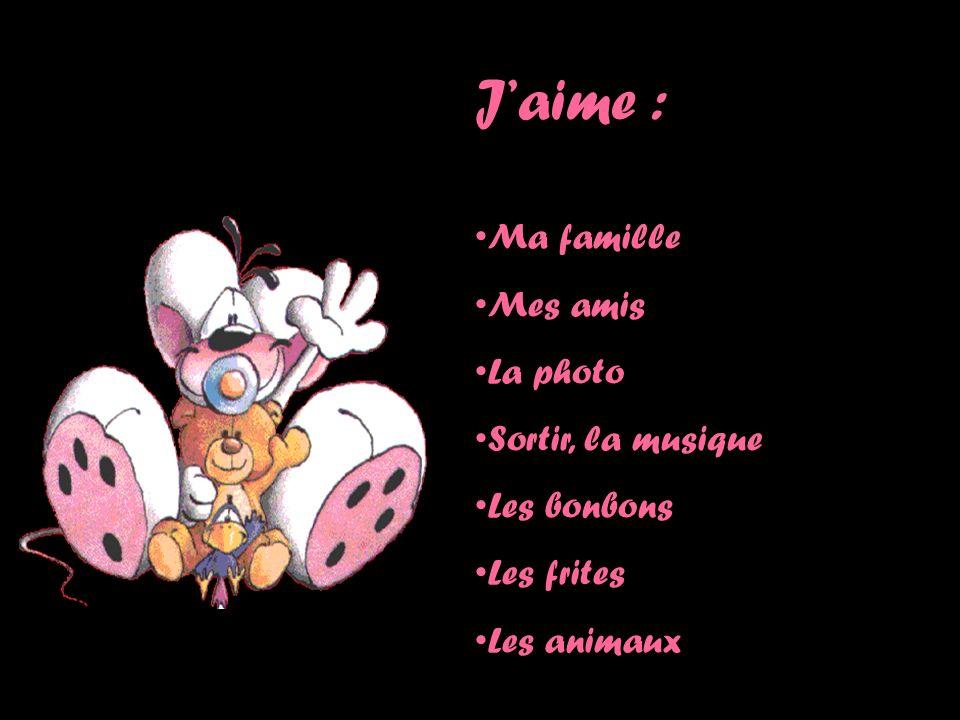 Jaime : Ma famille Mes amis La photo Sortir, la musique Les bonbons Les frites Les animaux