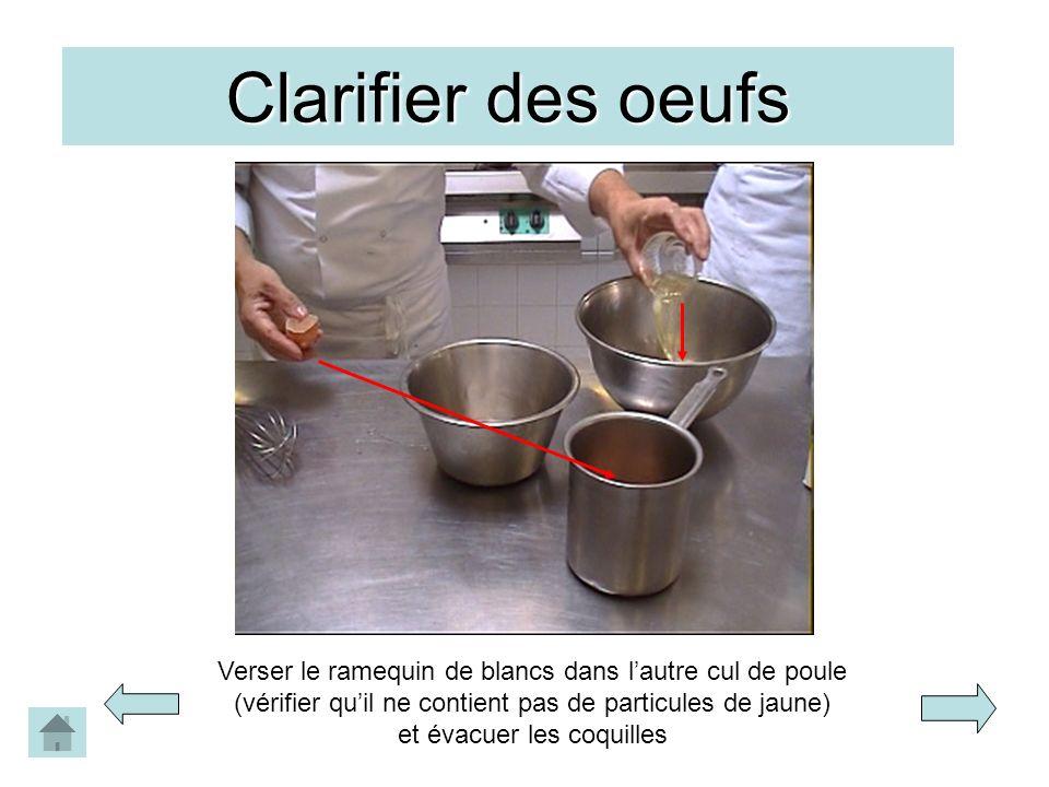 Clarifier des oeufs Verser le ramequin de blancs dans lautre cul de poule (vérifier quil ne contient pas de particules de jaune) et évacuer les coquil