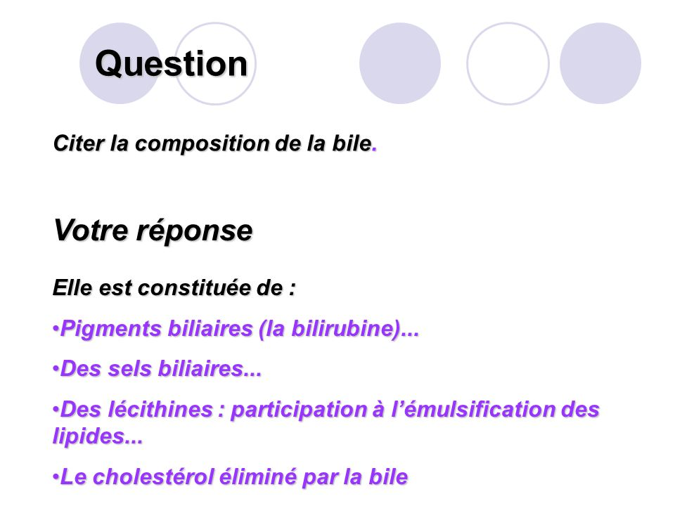 Question Citer la composition de la bile.