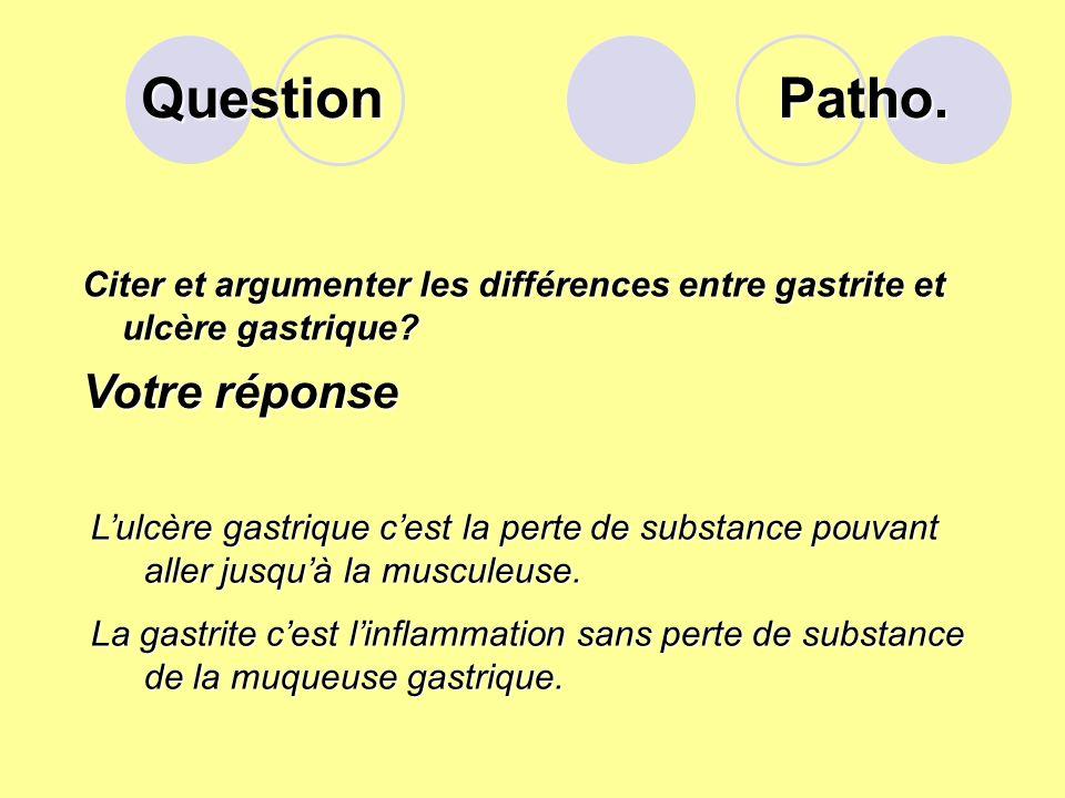 Question Citer les facteurs de risque de la « gastrite ». Votre réponse Certains médicaments, comme l'aspirine ou les anti-inflammatoires. un abus d'a