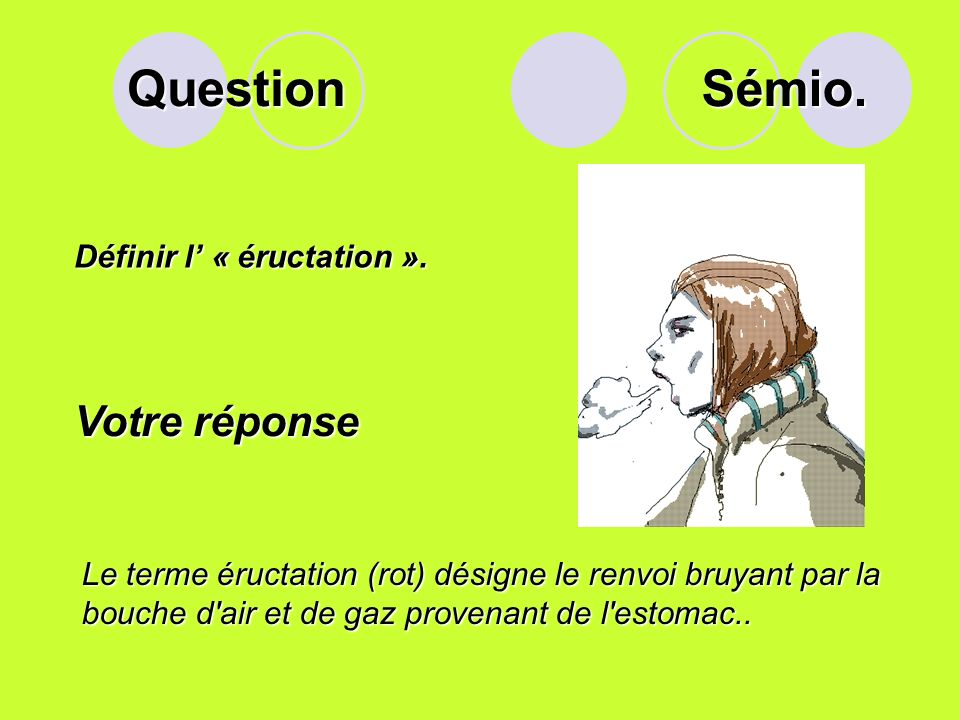 Question Définir l « éructation ».