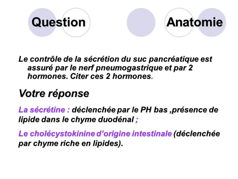 Question Donner la composition du suc pancréatique. Votre réponse Dions bicarbonates; Denzymes digestives: Les enzymes pancréatiques protéolytiques, e