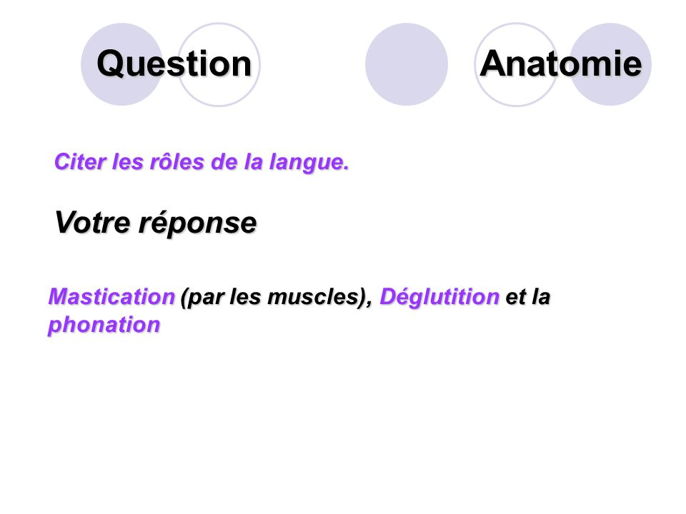 Question Citer les rôles de la langue.