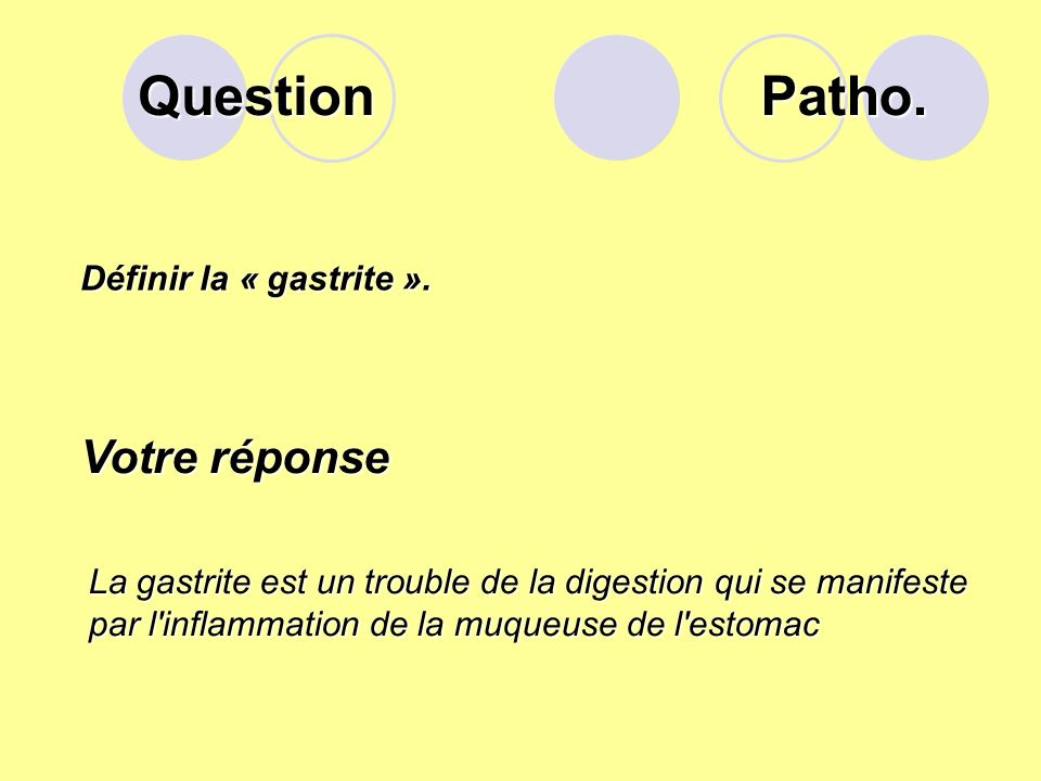 Question Définir la « gastrite ».
