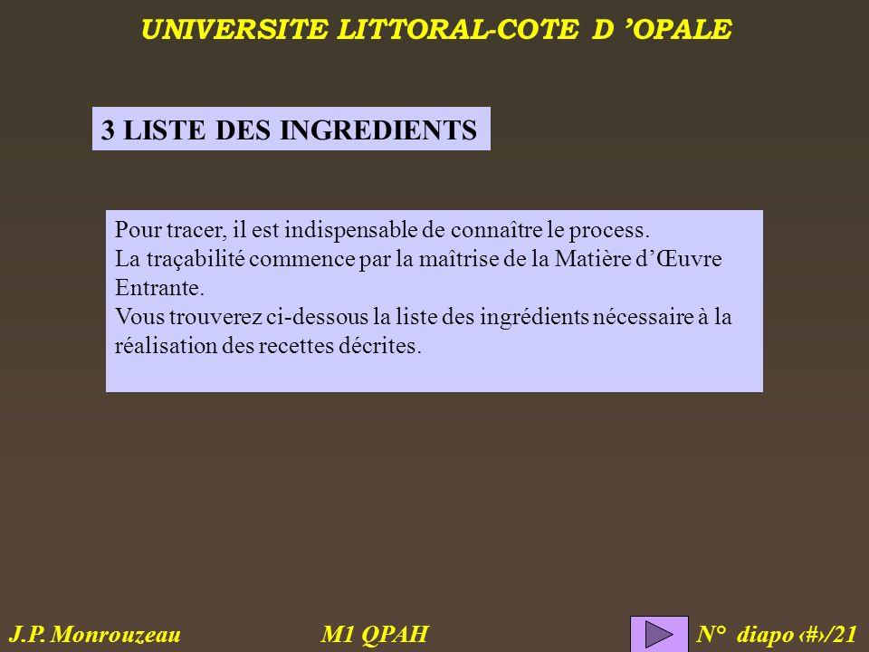 UNIVERSITE LITTORAL-COTE D OPALE M1 QPAH N° diapo 12/21 J.P. Monrouzeau Pour tracer, il est indispensable de connaître le process. La traçabilité comm