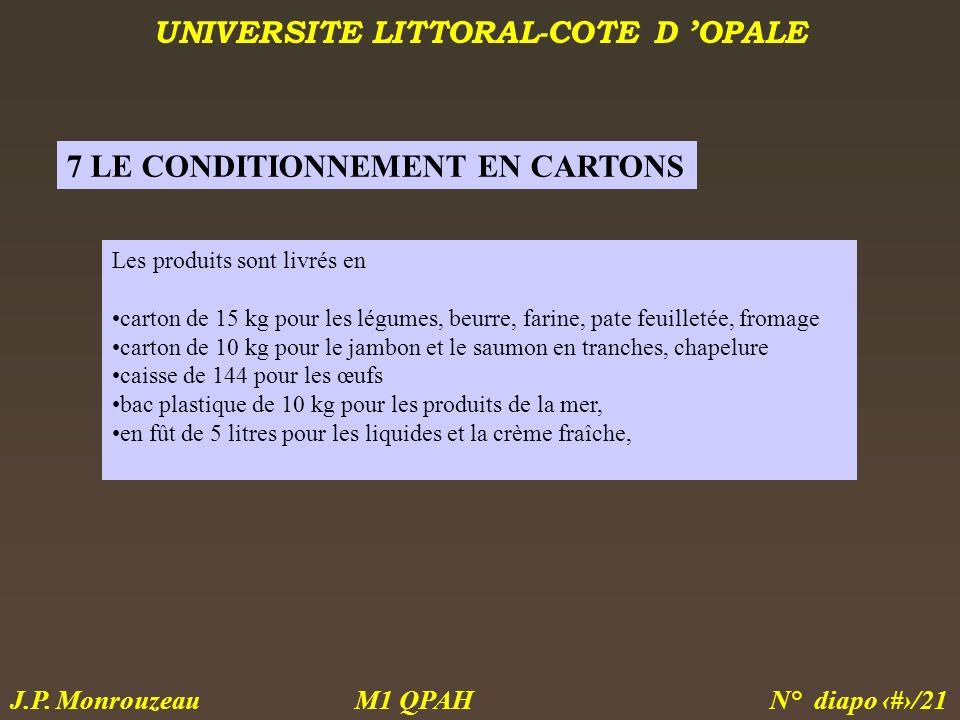 UNIVERSITE LITTORAL-COTE D OPALE M1 QPAH N° diapo 18/21 J.P. Monrouzeau Les produits sont livrés en carton de 15 kg pour les légumes, beurre, farine,