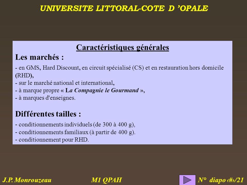 UNIVERSITE LITTORAL-COTE D OPALE M1 QPAH N° diapo 3/21 J.P. Monrouzeau Caractéristiques générales Les marchés : - en GMS, Hard Discount, en circuit sp