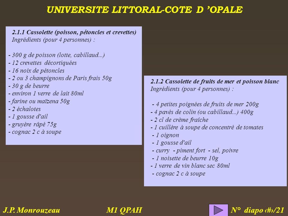 UNIVERSITE LITTORAL-COTE D OPALE M1 QPAH N° diapo 5/21 J.P. Monrouzeau 2.1.2 Cassolette de fruits de mer et poisson blanc Ingrédients (pour 4 personne