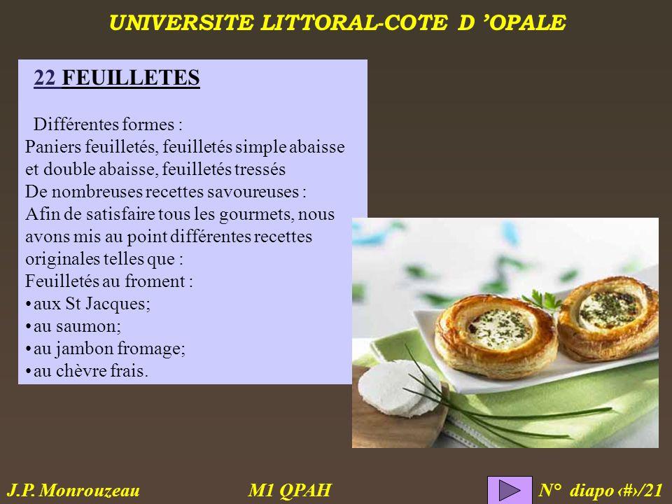 UNIVERSITE LITTORAL-COTE D OPALE M1 QPAH N° diapo 6/21 J.P. Monrouzeau 22 FEUILLETES Différentes formes : Paniers feuilletés, feuilletés simple abaiss